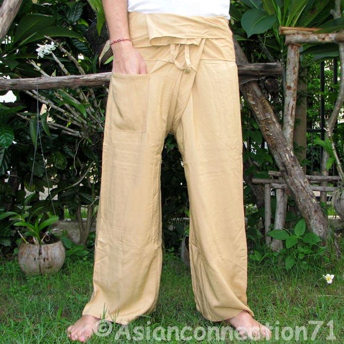 Thai KHAKI TAN BEIGE Rayon FREESIZE Fisherman Pants Yoga
