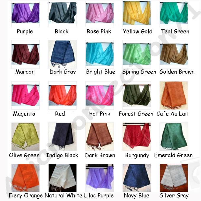 Thai Silk Fabric Scarf Shawl Wholesale Lot 20 Scarves 25 Colors Siam  Thailand Silk Scarves Wholesale