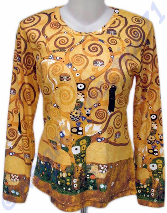 TREE of LIFE Gustav Klimt Long Sleeve Fine Art Print T Shirt Misses ...